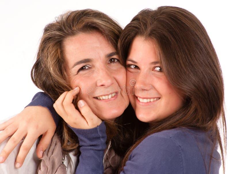 女儿她的妈妈纵向青少年的招标 库存照片