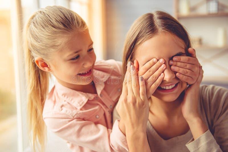 女儿家庭母亲 库存照片