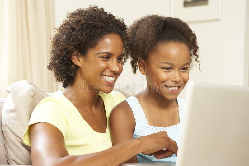 女儿家庭膝上型计算机母亲沙发使用 库存图片