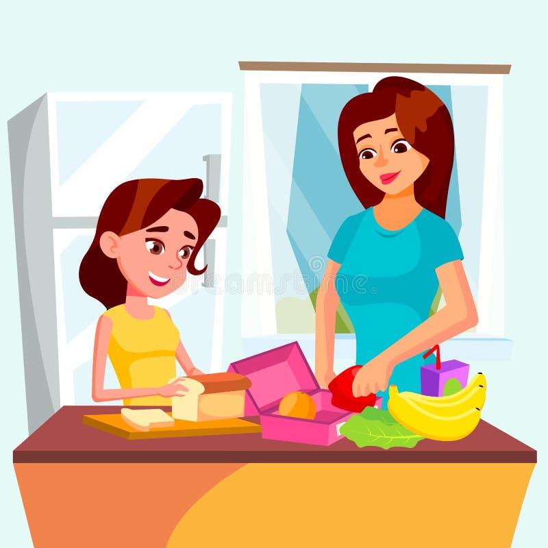 女儿帮助她的一起烹调在厨房传染媒介的母亲 按钮查出的现有量例证推进s启动妇女 向量例证