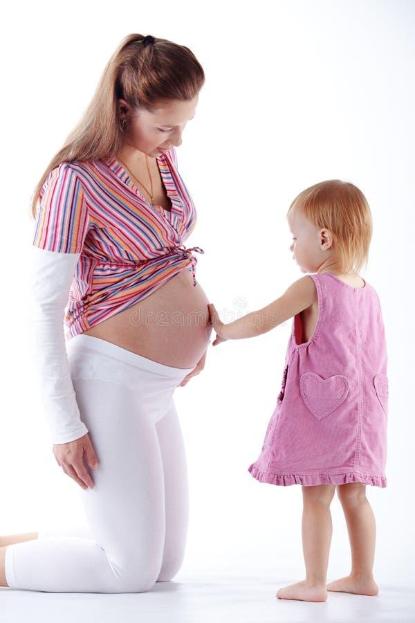 女儿怀孕她的母亲 库存图片