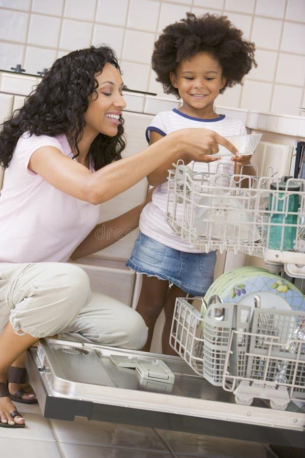 女儿洗碗机装载母亲
