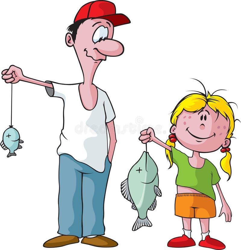 女儿父亲钓鱼 库存例证