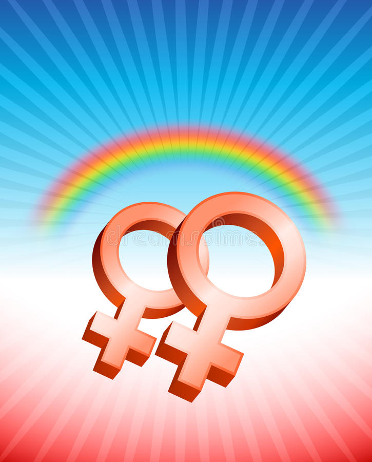 女同性恋的关系性别标志 向量例证