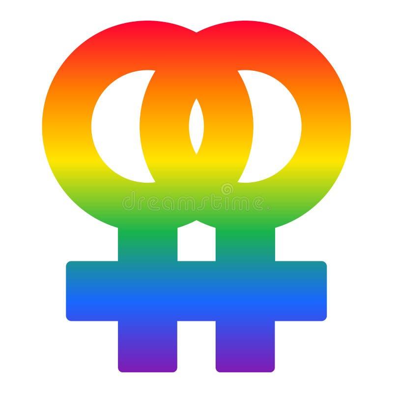 女同性恋的夫妇彩虹标志, LGBT旗子传染媒介 库存例证
