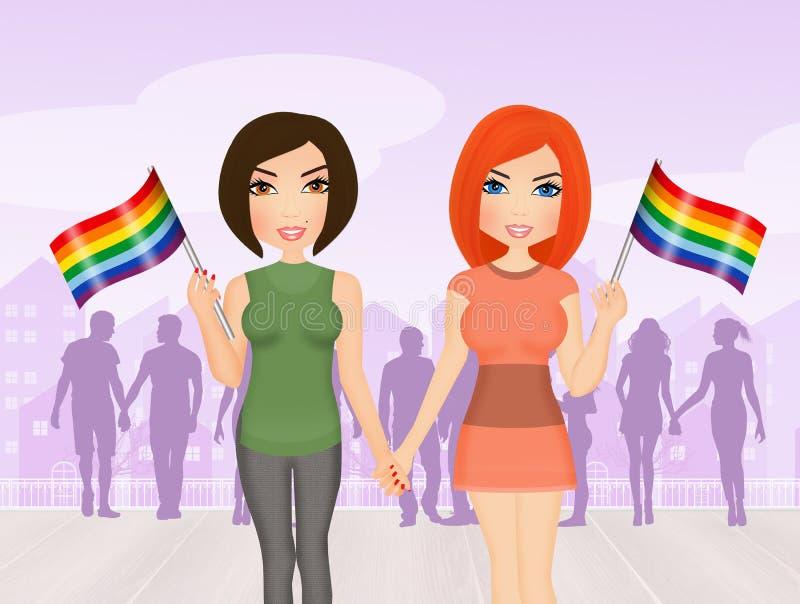 女同性恋的夫妇的例证 皇族释放例证