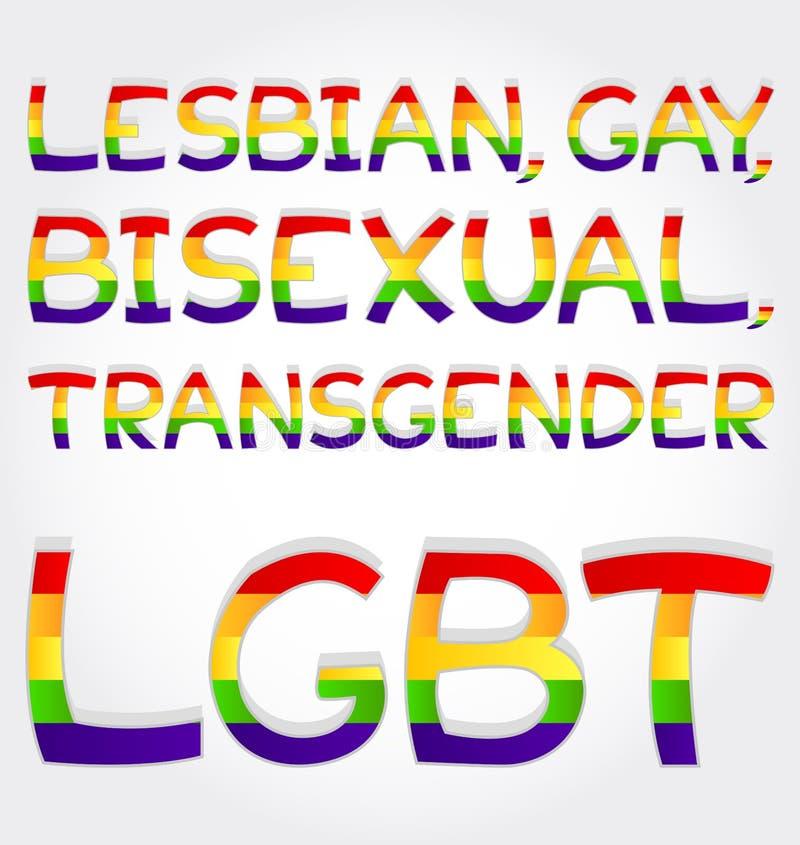 女同性恋者,同性恋者,两性体,变性, lgbt词组 向量例证