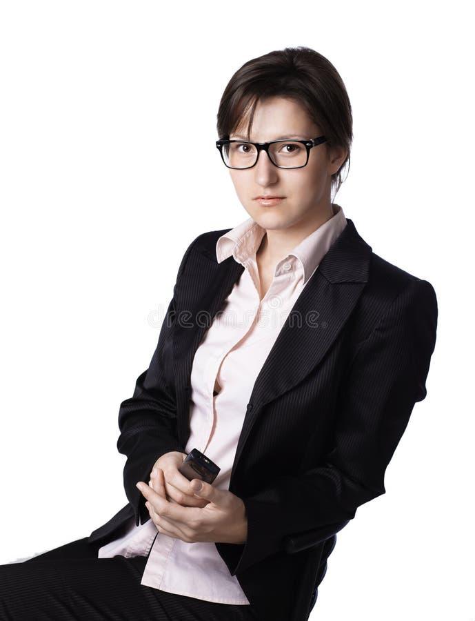 女商人。隔绝在白色背景 免版税库存照片