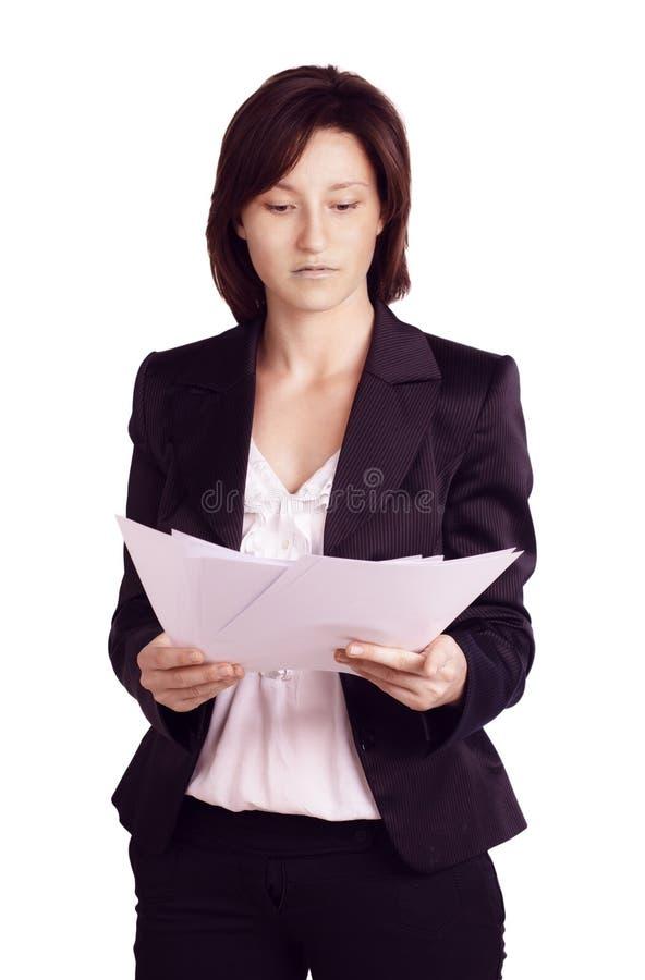 女商人。隔绝在白色背景 库存图片