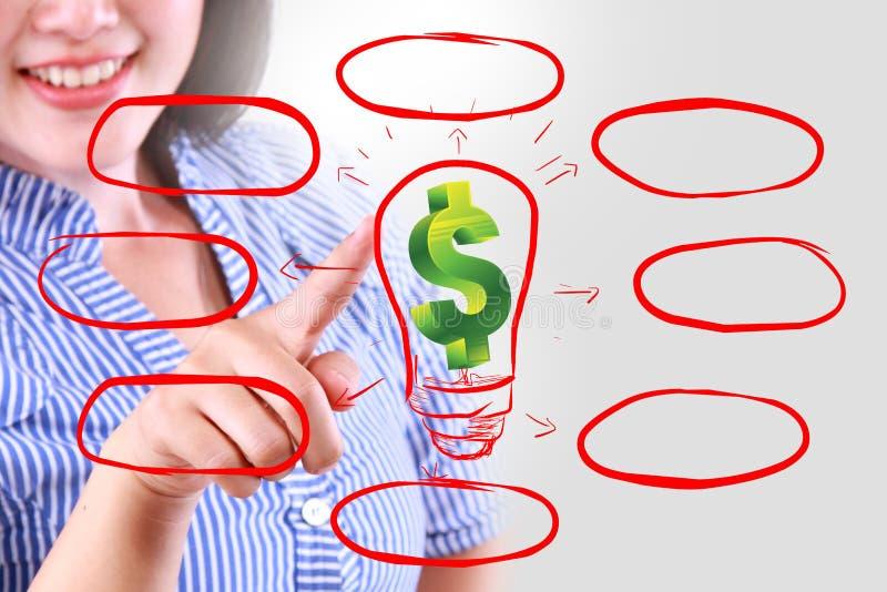 女商人与空白的名单的作为金钱 图库摄影