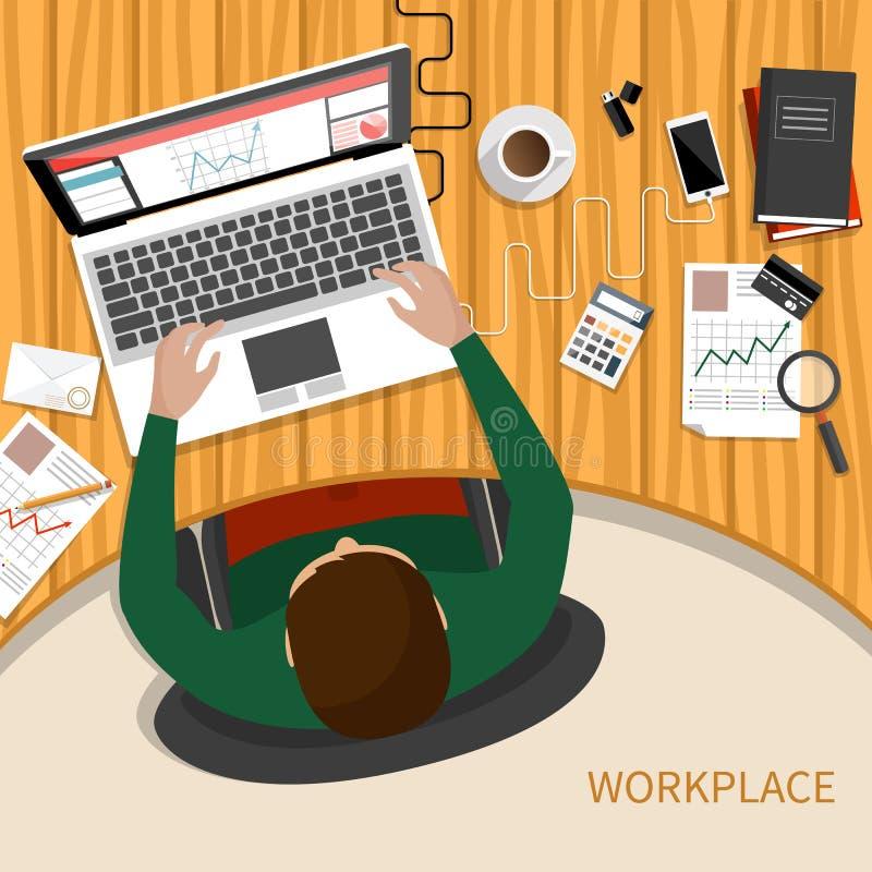 女商人与膝上型计算机和文件一起使用 向量例证