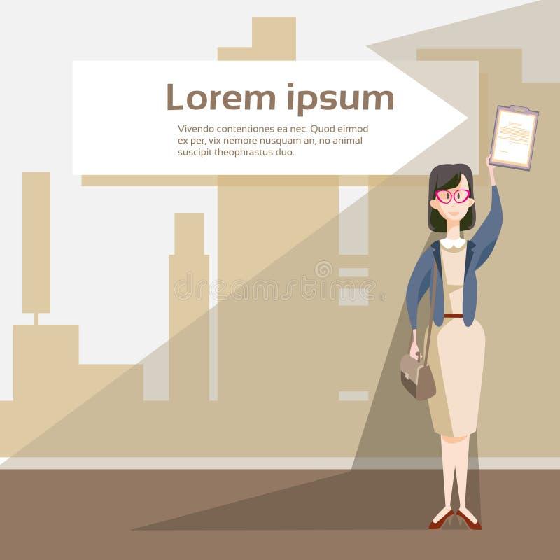 女商人举行文件文件夹合同约定 向量例证