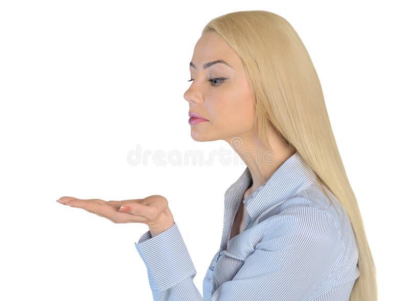 女商人举行某事 免版税库存照片