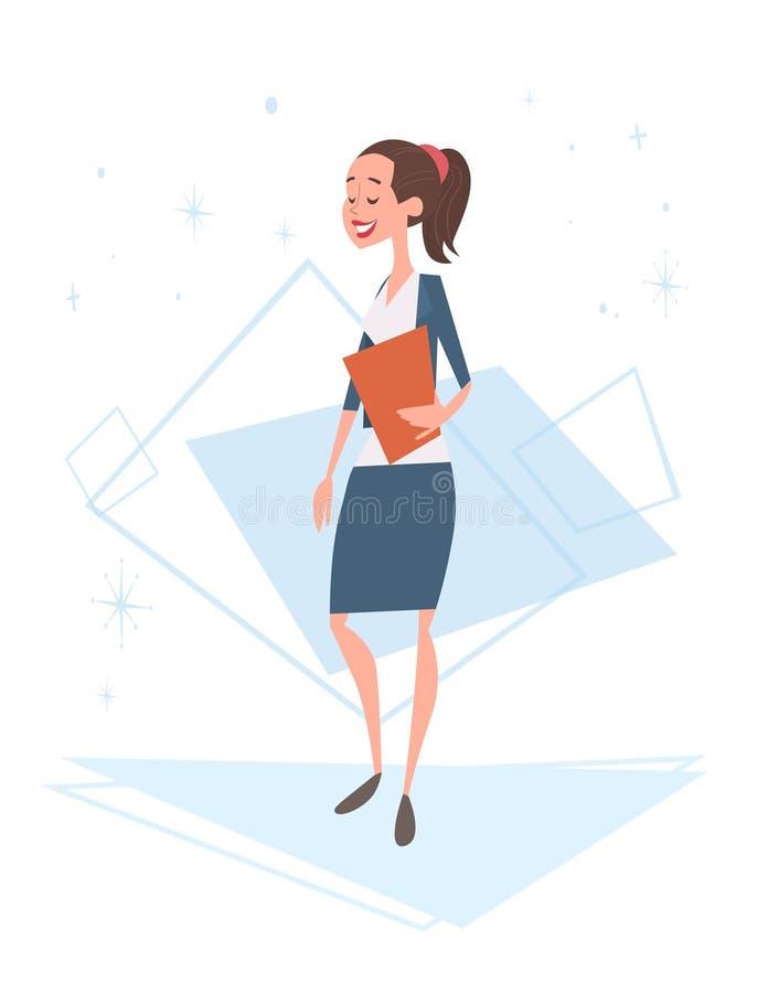 女商人人力资源,女实业家全长的漫画人物 皇族释放例证