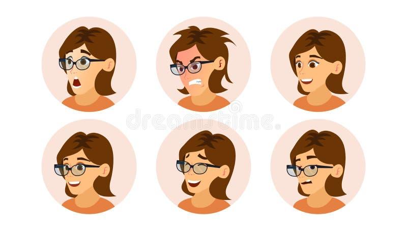 女商人具体化传染媒介 妇女面孔,被设置的情感 干事女孩 女性创造性的缺省具体化占位符 现代 向量例证