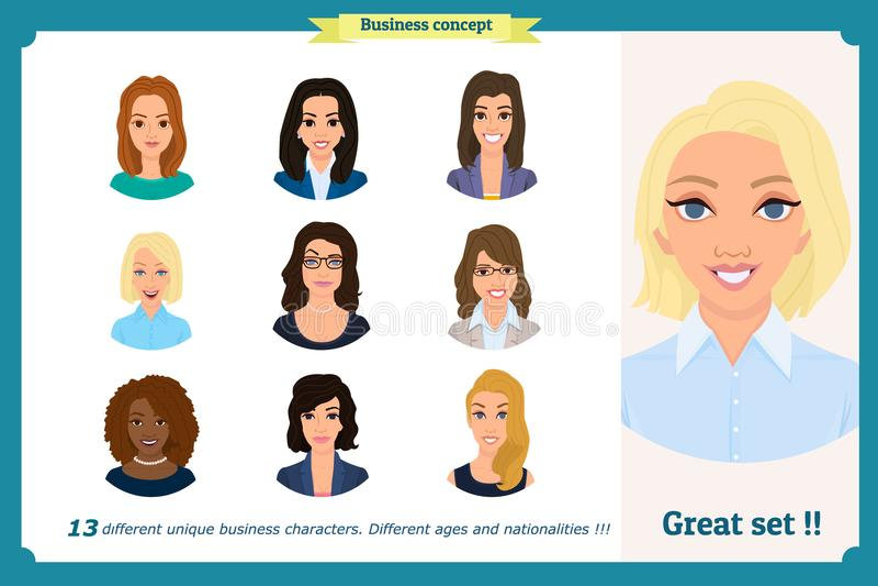女商人具体化设置与微笑的面孔 队象汇集 在白色的传染媒介 企业衣裳的逗人喜爱的妇女 皇族释放例证