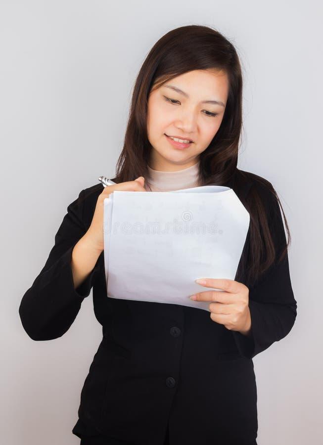 女商人写本文 免版税库存图片
