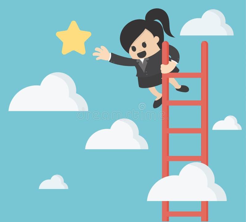 女商人劫掠星 到达天空的企业概念金黄回归键所有权 向量例证