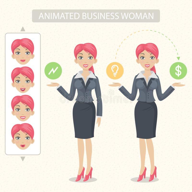 女商人告诉并且代表 向量例证