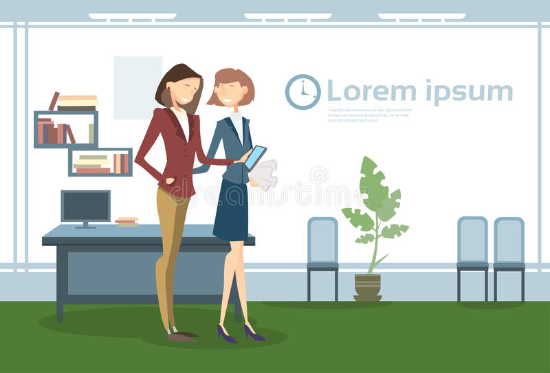 女商人在办公室工作场所,女实业家举行纸合同文件 向量例证