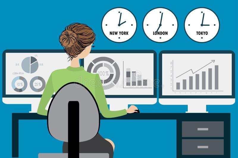 女商人在办公室,平的设计 向量例证