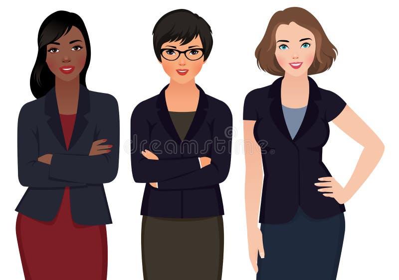 女商人多种族在白色背景的衣服 库存例证