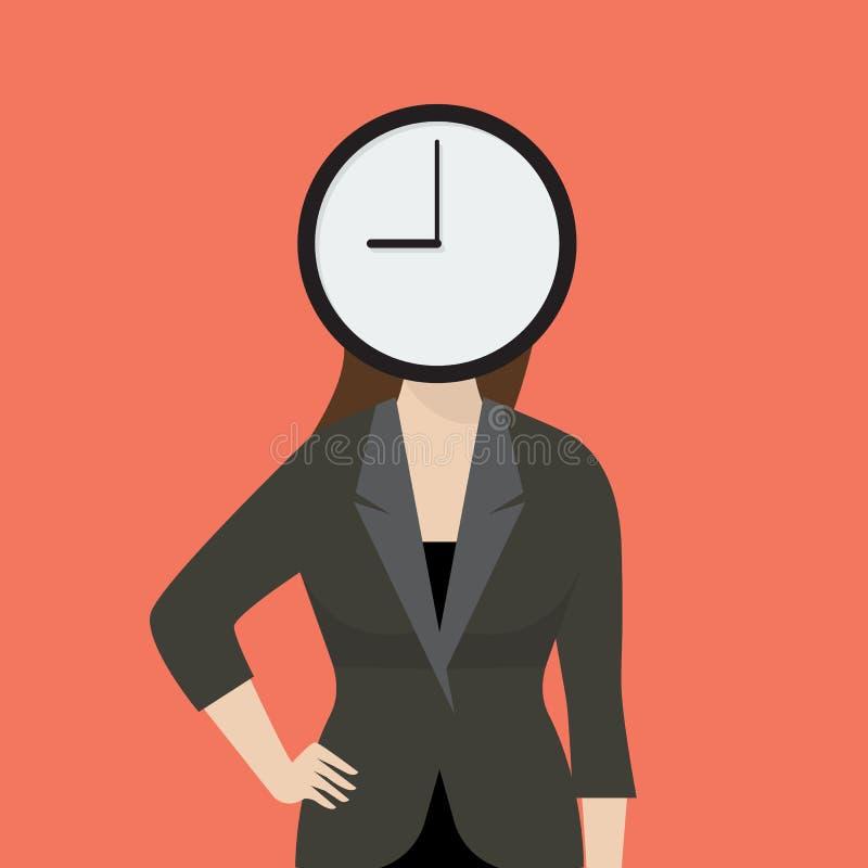 女商人她的头是时钟 库存例证