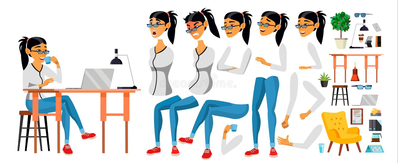 女商人字符传染媒介 工作的亚裔女性 商业开始 现代办公室 编制程序,软件开发 库存例证