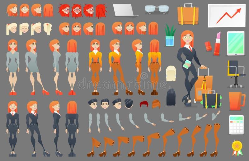 女商人字符创作建设者 另外姿势妇女 有面孔的,胳膊,腿,发型女性 皇族释放例证