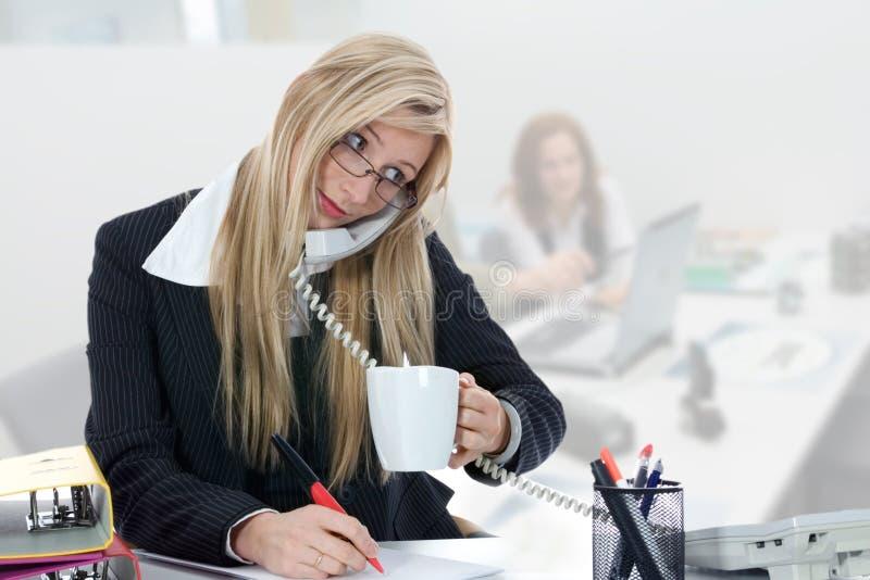 女商人工作 免版税库存照片