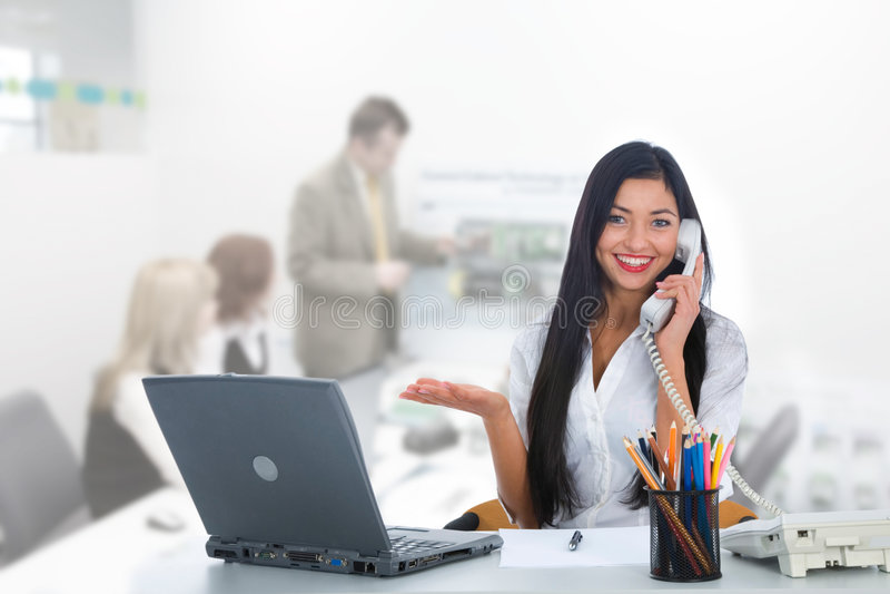 女商人工作 免版税图库摄影