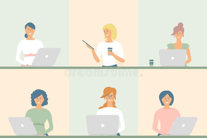 女商人平的具体化设置与笑容 工作队象汇集 有笔记本、片剂和杯子的同事女孩  向量例证