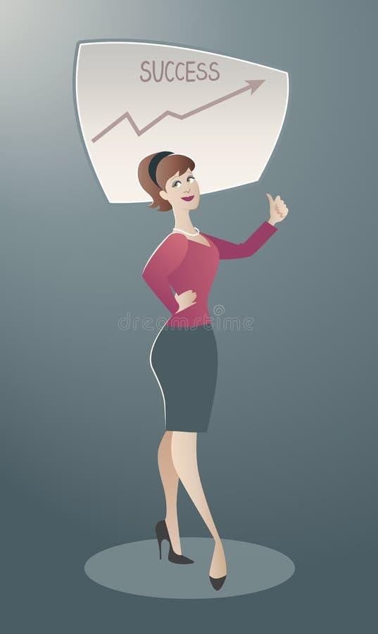 女商人感到骄傲为她的成功 动画片减速火箭的样式 向量例证