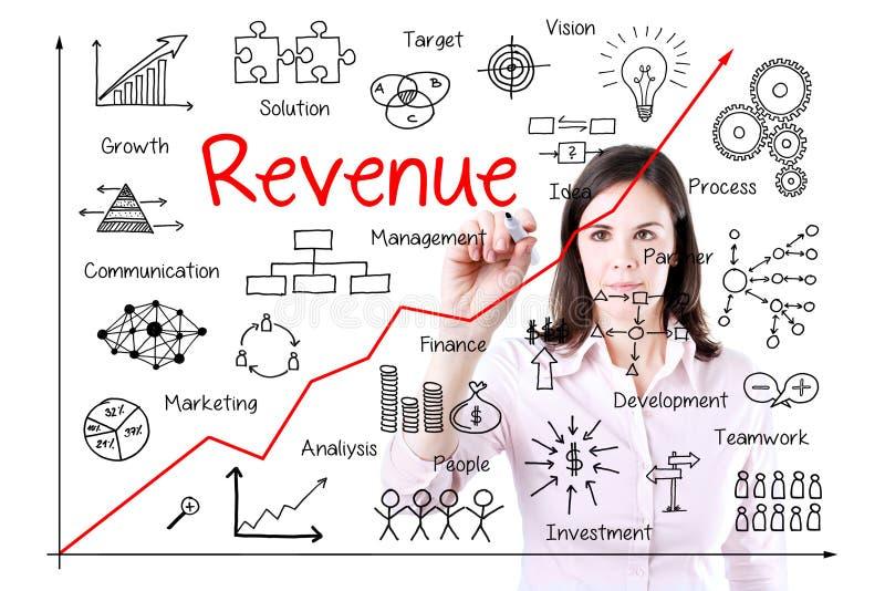 年轻女商人文字增加的收支图表 免版税库存图片