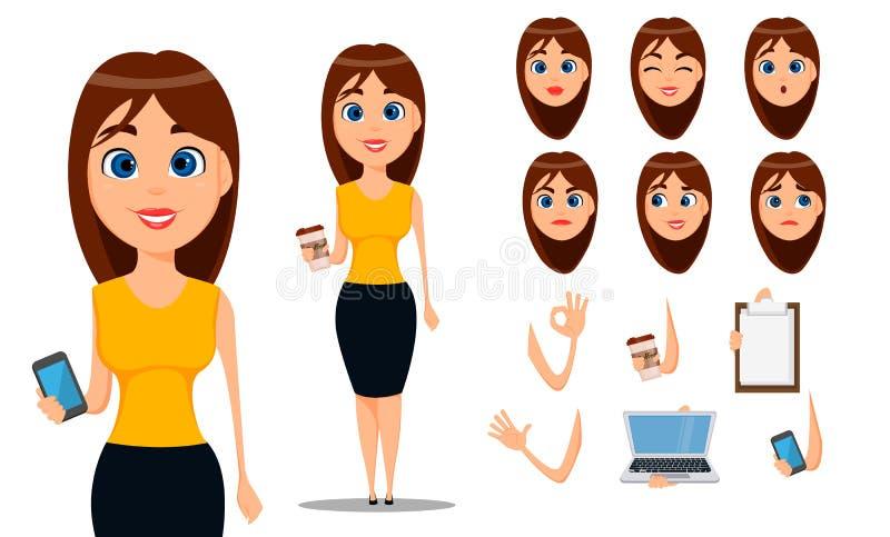 女商人漫画人物创作集合 巧妙的便衣的年轻可爱的女实业家 向量例证