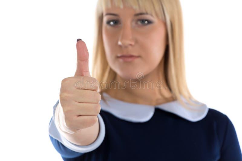 女商人照片有赞许的 免版税库存图片