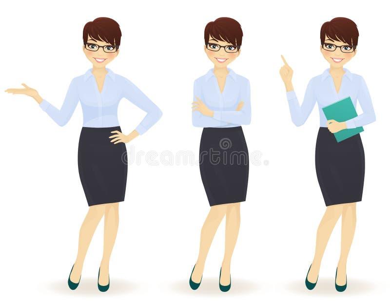 女商人用不同的姿势 皇族释放例证