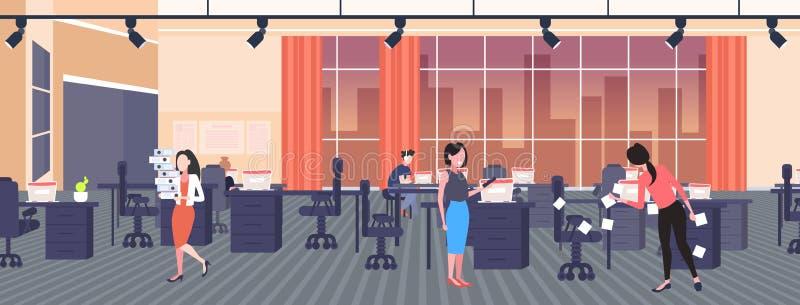 女商人用便笺贴贴贴纸,创业计划管理团队合作概念商人 向量例证