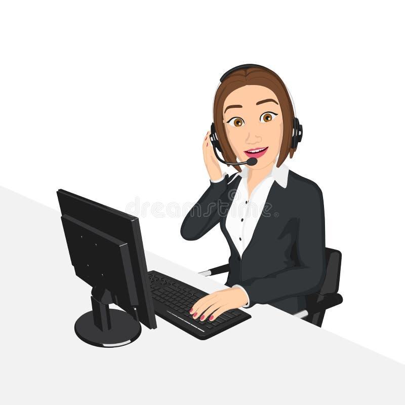 女商人电话中心概念 库存例证