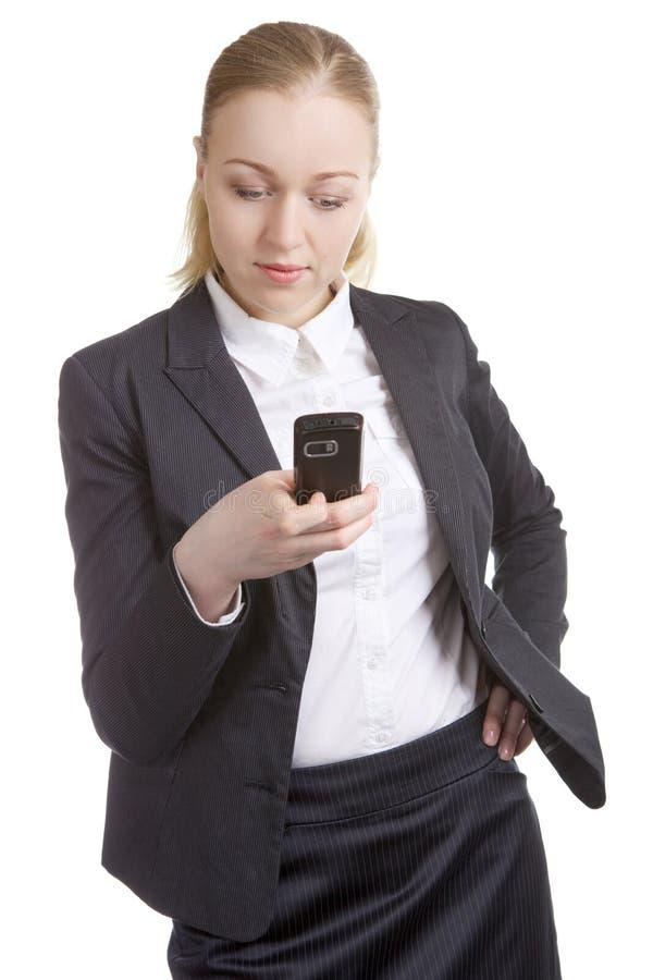 女商人电话 免版税库存照片