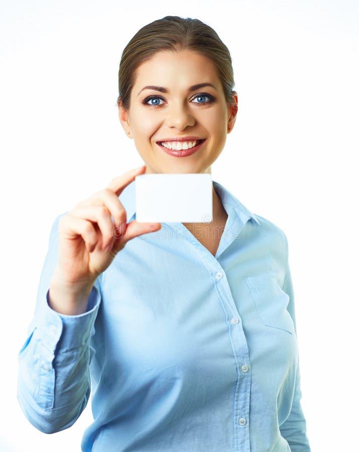 女商人白色背景画象 抽象蓝色看板卡赊帐照片 免版税库存图片
