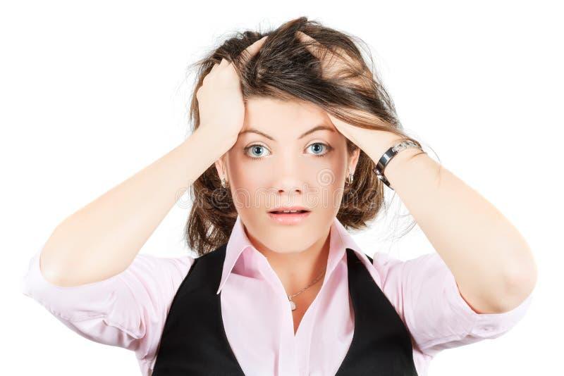 女商人的情感 问题决定恐怖  免版税库存图片