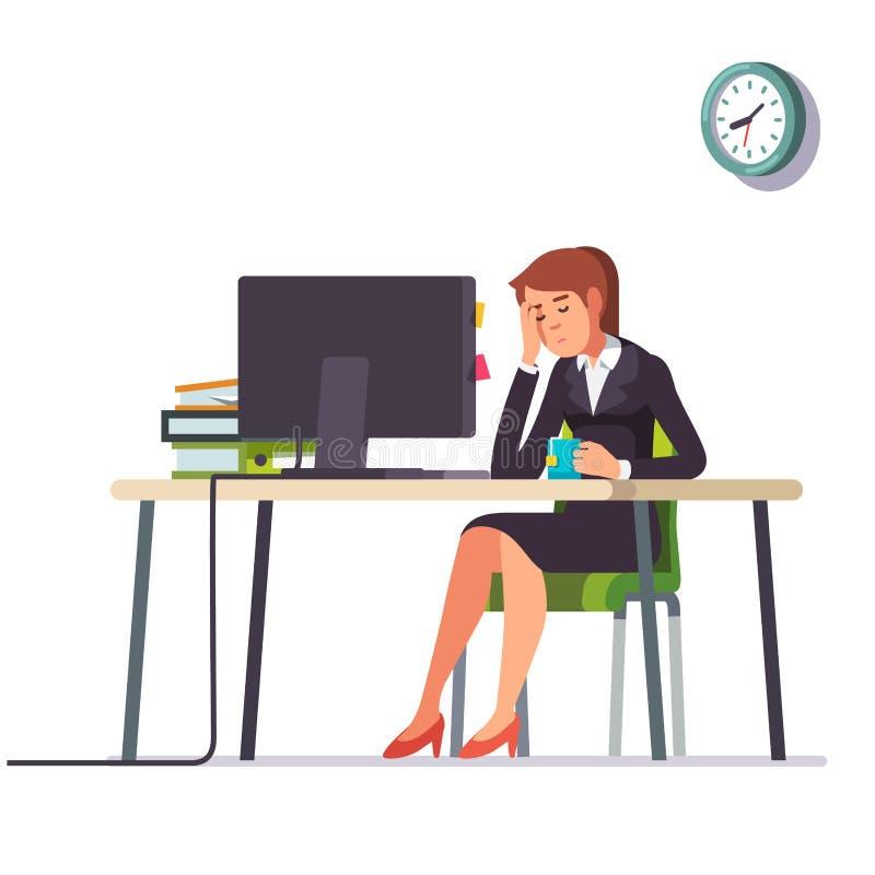女商人睡着了在她的办公桌 向量例证