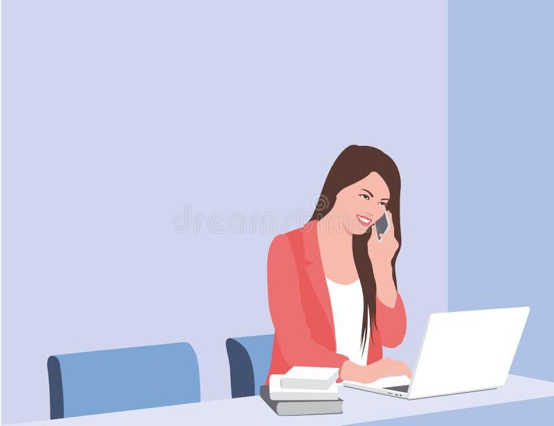女商人研究膝上型计算机 女商人坐在西装和谈话在电话 r 库存例证