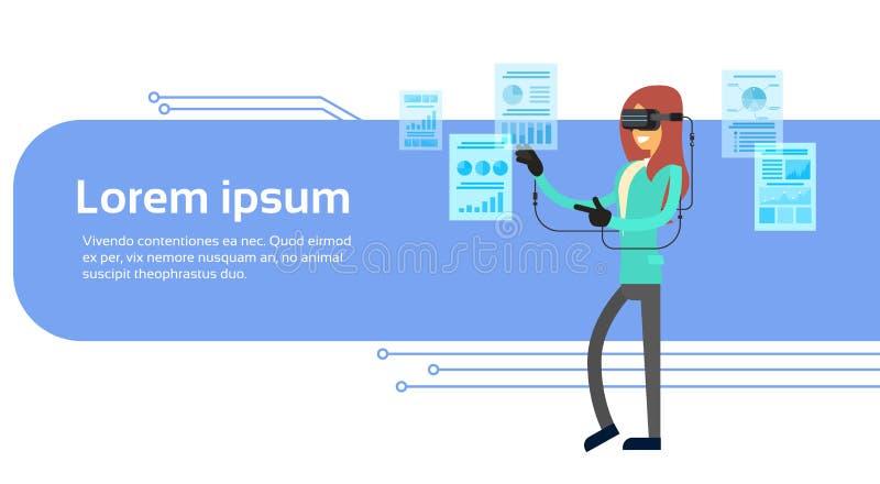 女商人穿戴虚拟现实数字式玻璃耳机手套财务图表与拷贝空间的图横幅 库存例证