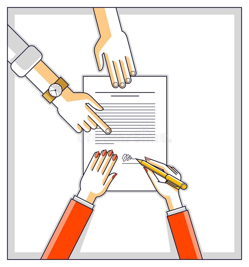 女商人签署合同纸张文件或银行顾客在金钱信用和雇员帮助的财政形式写一个标志 库存例证
