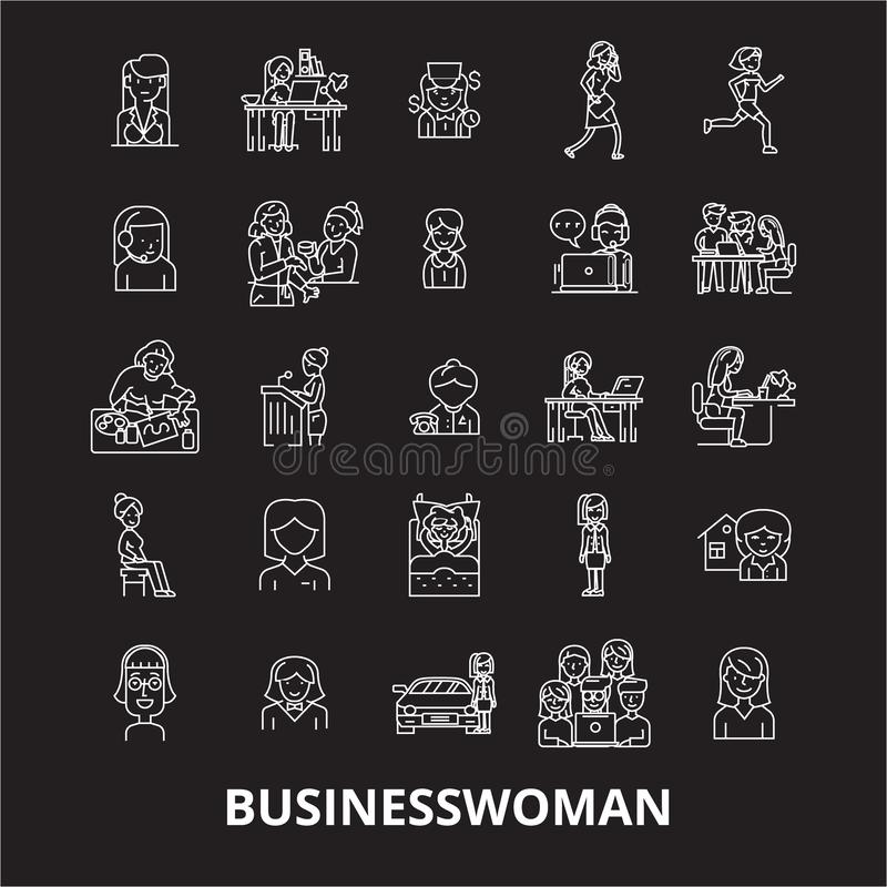 女商人编辑可能的线象导航在黑背景的集合 女商人白色概述例证,标志 皇族释放例证