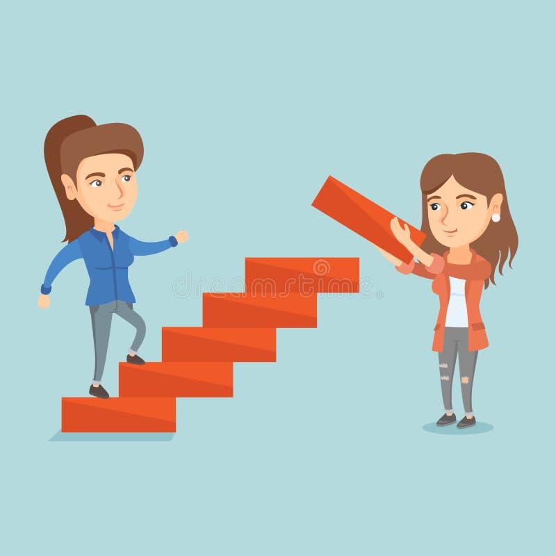 年轻女商人跑事业梯子 库存例证
