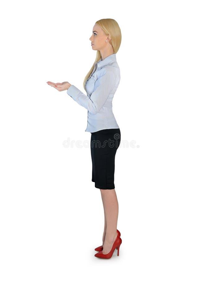 女商人运载某事 免版税库存照片