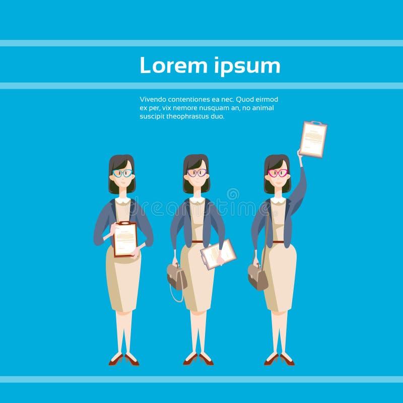 女商人集合举行文件文件夹合同约定 向量例证